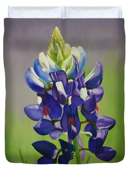 Portrait Of A Bluebonnet Duvet Cover by Jimmie Bartlett
