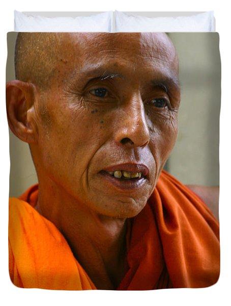 Portrait Of A Buddhist Monk Yangon Myanmar Duvet Cover