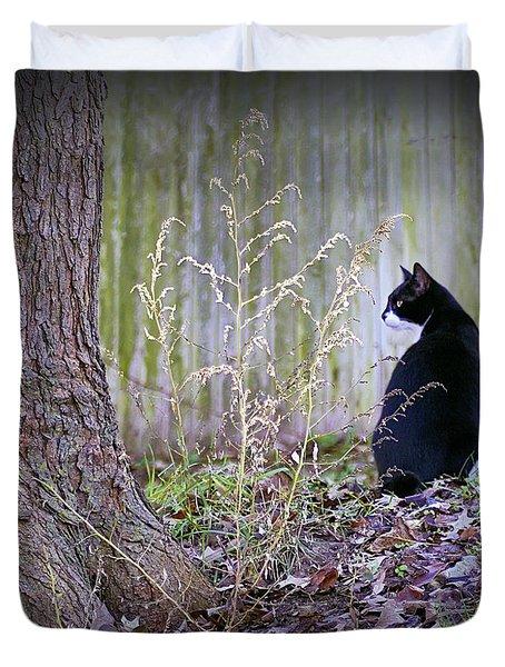 Portrait Of A Feline Duvet Cover by Brian Wallace