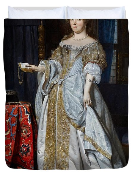Portrait Of A Lady Duvet Cover by Gabriel Metsu