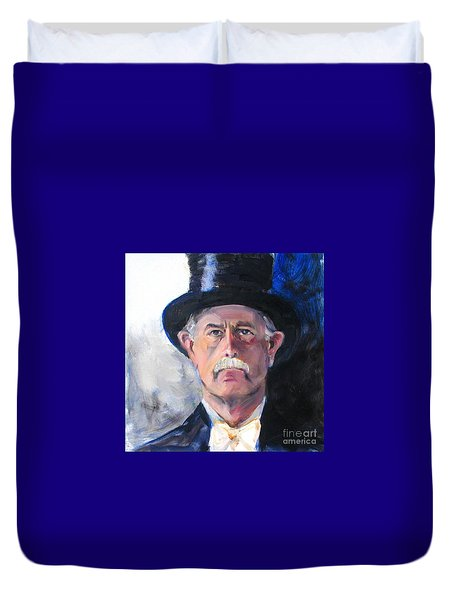Duvet Cover featuring the painting Portrait Of A Man In Top Hat by Greta Corens