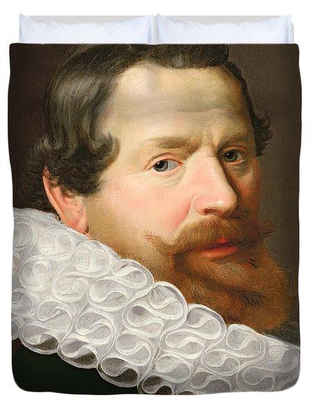 Portrait Of A Man Wearing A Ruff Duvet Cover by Dutch School