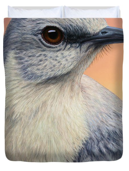 Portrait Of A Mockingbird Duvet Cover by James W Johnson