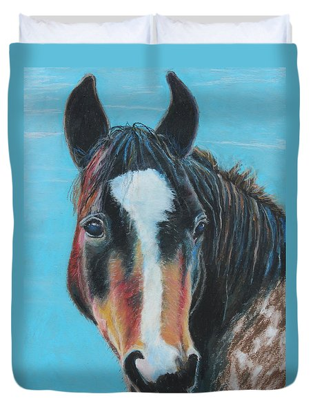 Duvet Cover featuring the painting Portrait Of A Wild Horse by Jeanne Fischer