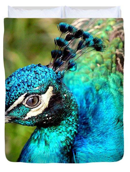 Duvet Cover featuring the photograph Portrait Of A Peacock by Kathy  White