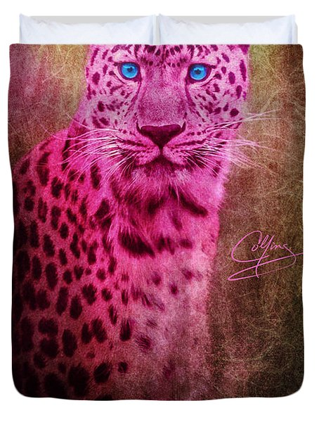 Portrait Of A Pink Leopard Duvet Cover