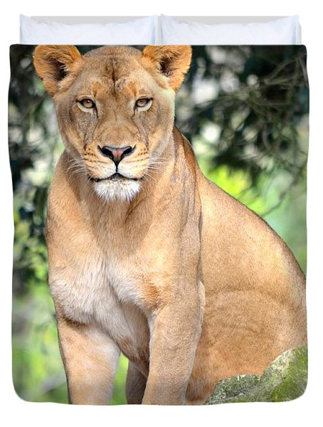 Portrait Of A Proud Lioness Duvet Cover