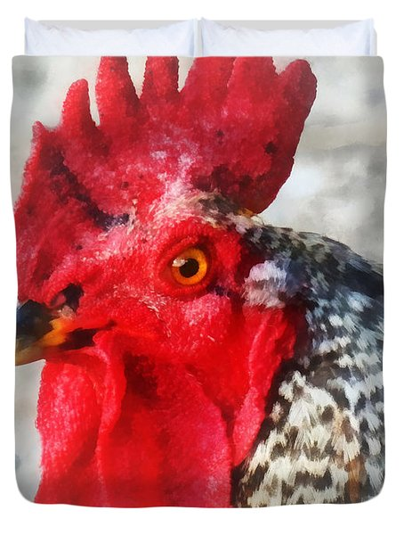 Portrait Of A Rooster Duvet Cover by Susan Savad