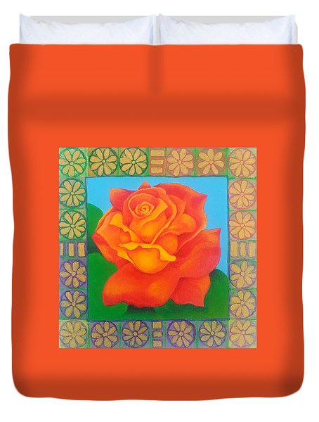 Portrait Of A Rose That Grew From Adversity Duvet Cover
