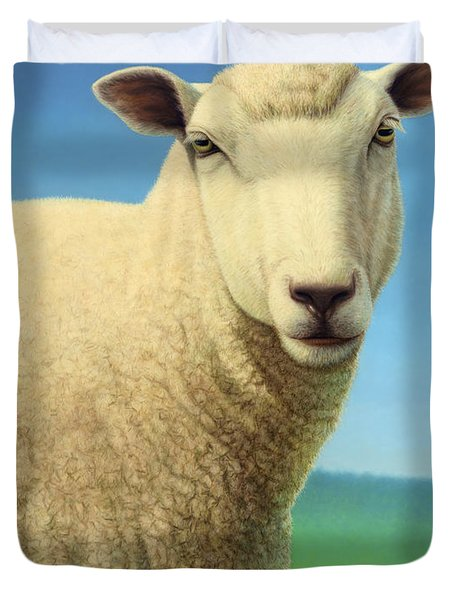 Duvet Cover featuring the painting Portrait Of A Sheep by James W Johnson
