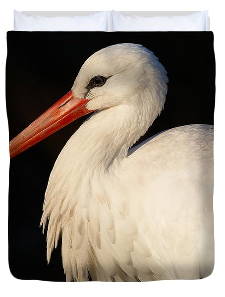 Portrait Of A Stork With A Dark Background Duvet Cover