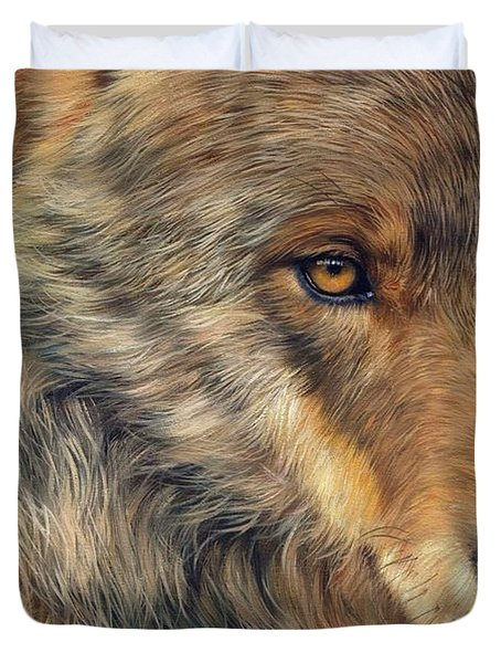Portrait Of A Wolf Duvet Cover by David Stribbling