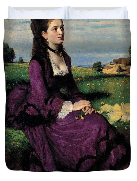 Portrait Of A Woman In Lilac Duvet Cover