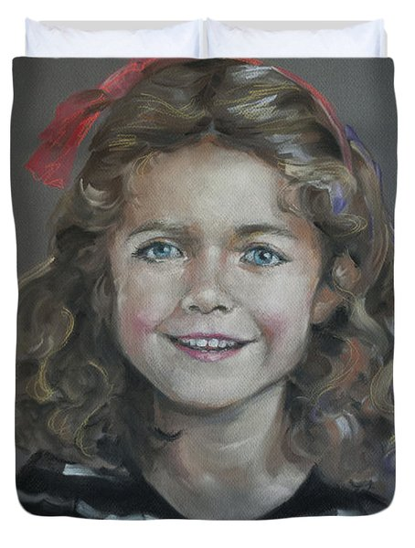 Portrait Of A Young Girl Duvet Cover by Mary Machare