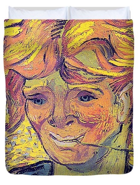 Portrait Of A Young Man With Cornflower Duvet Cover by Vincent Van Gogh