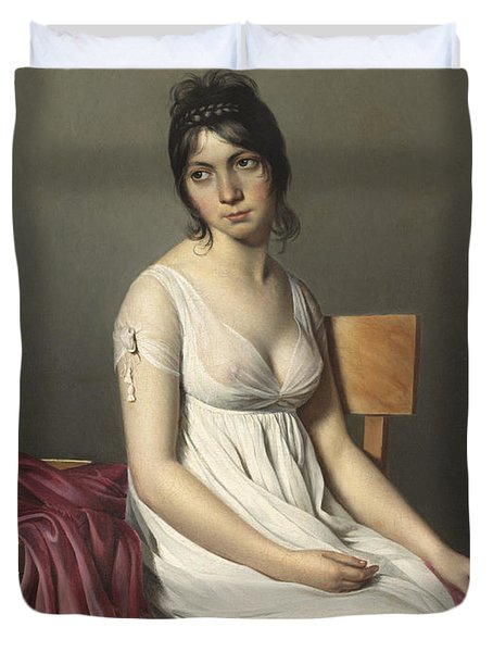 Portrait Of A Young Woman In White Duvet Cover by Jacques Louis David