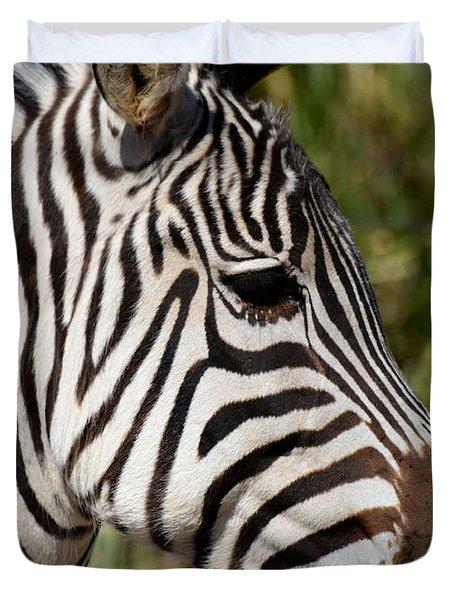 Portrait Of A Zebra Duvet Cover by Maria Urso