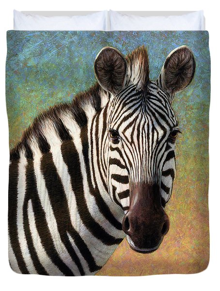 Portrait Of A Zebra - Square Duvet Cover