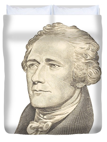 Portrait Of Alexander Hamilton On White Background Duvet Cover
