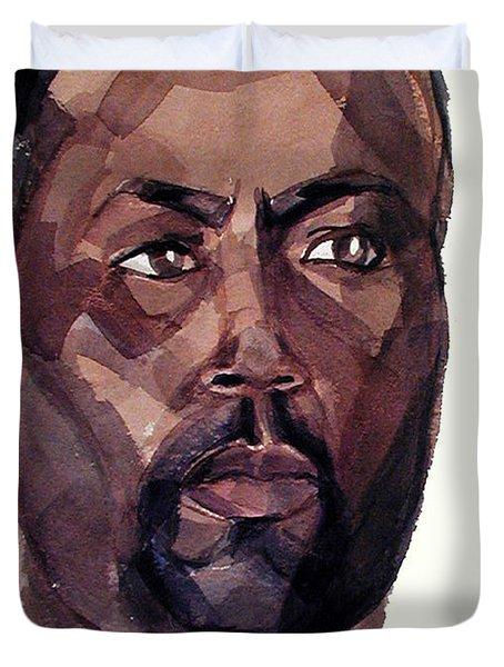 Watercolor Portrait Of An Athlete Duvet Cover