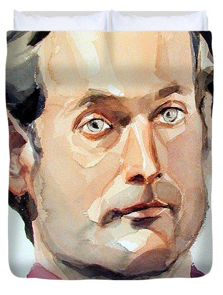 Watercolor Portrait Of A Man With Pale Blue Eyes Duvet Cover