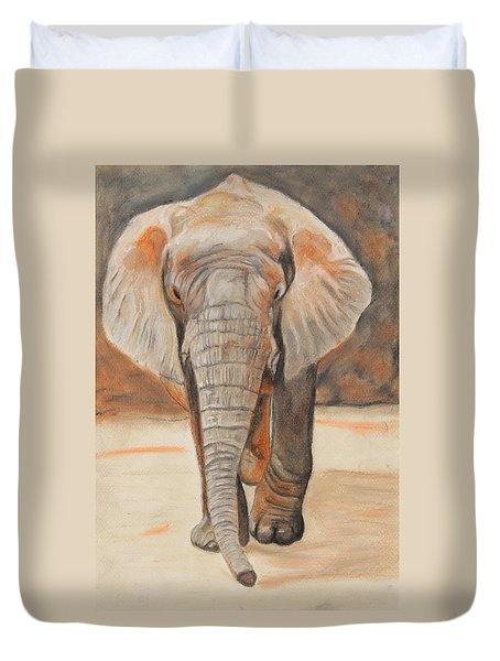 Duvet Cover featuring the painting Portrait Of An Elephant by Jeanne Fischer