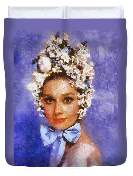 Portrait Of Audrey Hepburn Duvet Cover