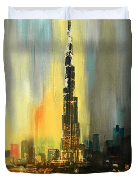Portrait Of Burj Khalifa Duvet Cover by Corporate Art Task Force