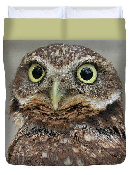 Portrait Of Burrowing Owl Duvet Cover