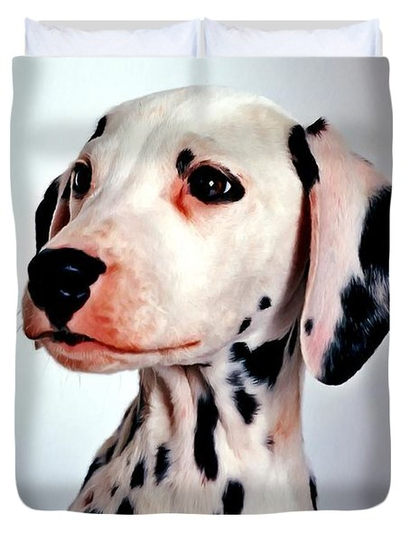 Portrait Of Dalmatian Dog Duvet Cover by Lanjee Chee