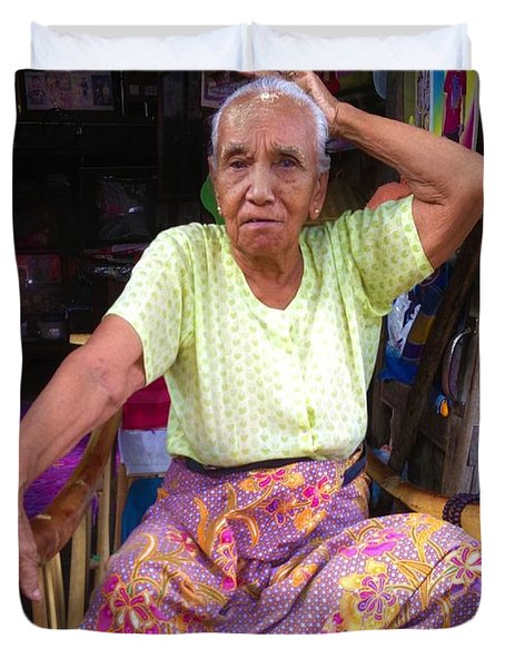 Duvet Cover featuring the photograph Portrait Of Elderly Burmese Lady Sitting In Front Of Home 33rd Street Chanayethazan Mandalay Burma by Ralph A  Ledergerber-Photography