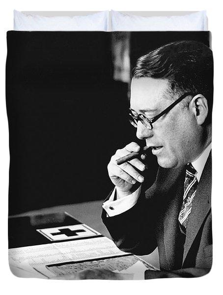 Portrait Of Elmer Irey Duvet Cover by Underwood Archives