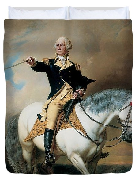Portrait Of George Washington Taking The Salute At Trenton Duvet Cover by John Faed