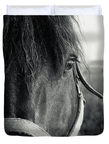 Portrait Of Horse In Black And White Duvet Cover