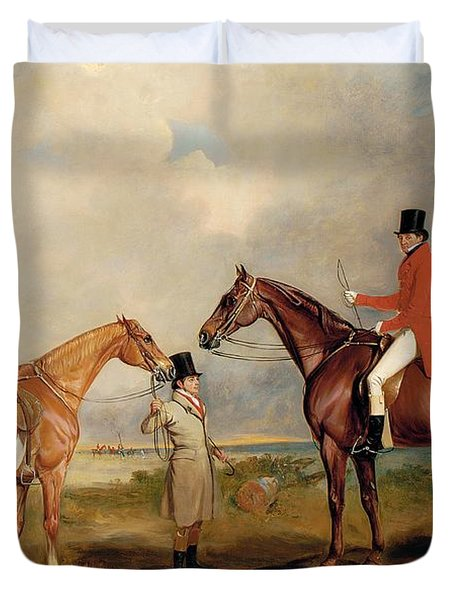 Portrait Of John Drummond On A Hunter With A Groom Holding His Second Horse Duvet Cover by John E Ferneley