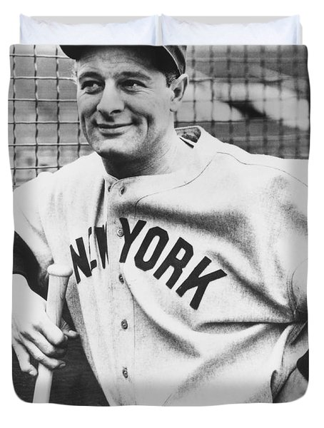 Portrait Of Lou Gehrig Duvet Cover