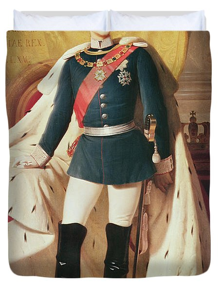 Portrait Of Ludwig II 1845-86of Bavaria In Uniform, 1865 Oil On Canvas Duvet Cover