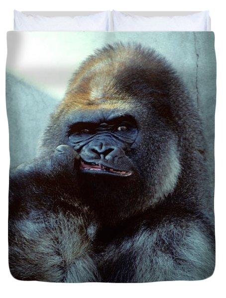 Portrait Of Male Gorilla Gorilla Gorilla Duvet Cover