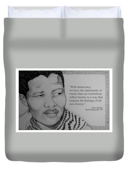 Portrait Of Mandela 1950 Duvet Cover