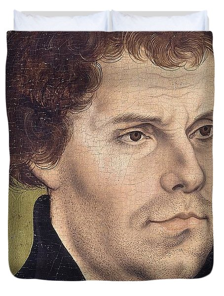 Portrait Of Martin Luther Aged 43 Duvet Cover by Lucas Cranach