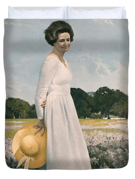 Portrait Of Mrs Lyndon B Johnson Duvet Cover by Mountain Dreams
