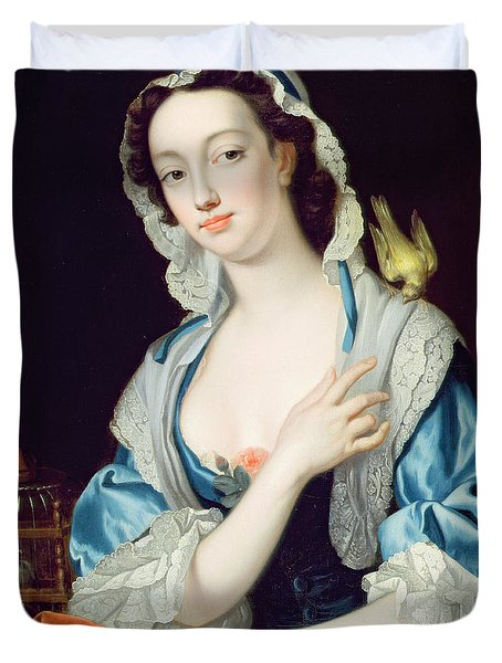 Portrait Of Peg Woffington Duvet Cover by Jean-Baptiste van Loo
