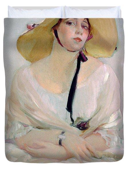 Portrait Of Raquel Meller Duvet Cover by Joaquin Sorolla y Bastida