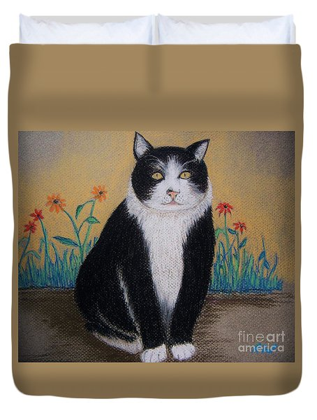 Portrait Of Teddy The Ninja Cat Duvet Cover by Reb Frost