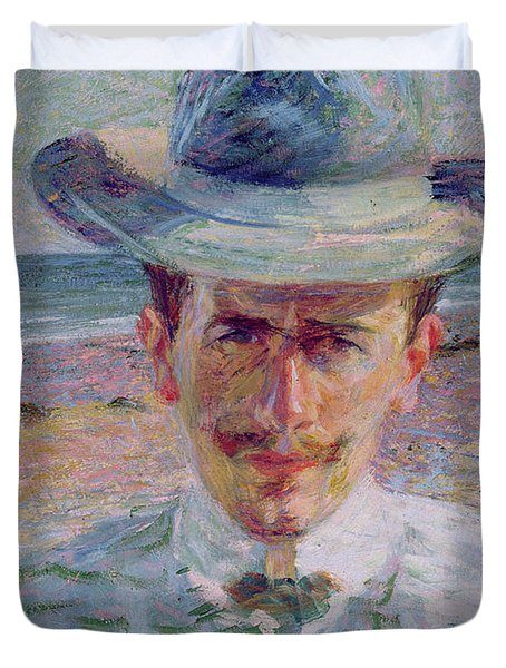 Portrait Of The Lawyer Duvet Cover by Umberto Boccioni