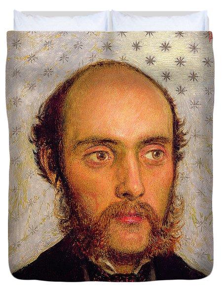 Portrait Of William Michael Rossetti 1829-1919 By Lamplight, 1856 Panel Duvet Cover