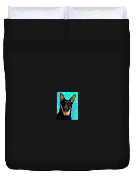 Portrait Of A German Shepherd Dog Duvet Cover by Karon Melillo DeVega