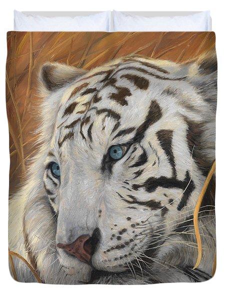 Portrait White Tiger 1 Duvet Cover