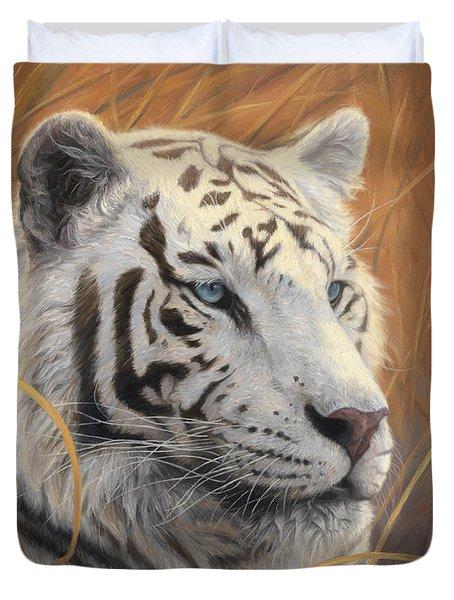 Portrait White Tiger 2 Duvet Cover