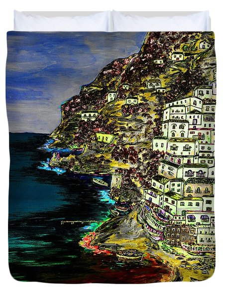 Positano At Night Duvet Cover by Loredana Messina